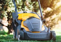 Man mows the lawn with a lawn mower. copy space